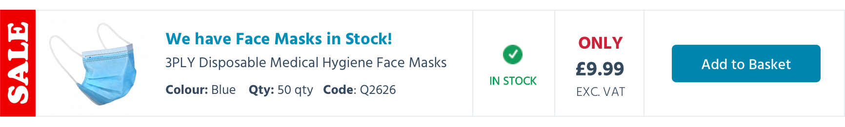 3PLY Face Masks Promotion