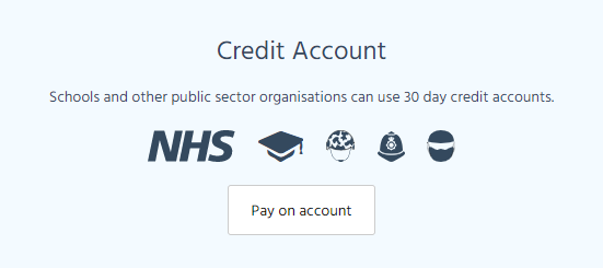 Image from checkout of Credit account option