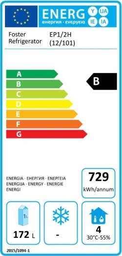EcoPro G2 EP1/2H (12-101) 280 Ltr Refrigerated Counter Energy Rating