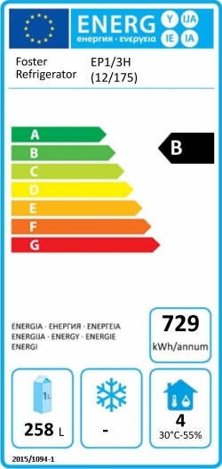 EcoPro G2 EP1/3H (12-175) 435 Ltr Refrigerated Counter Energy Rating