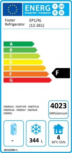 EcoPro G2 EP1/4L (12-261) 585 Ltr Freezer Counter Energy Rating