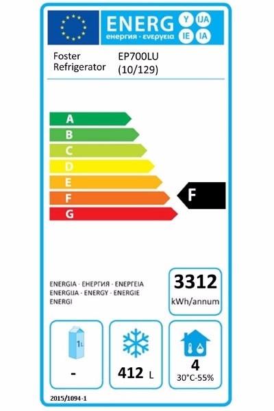 EcoPro G2 EP700LU (10-129) 600 Ltr Undermounted Upright Freezer Energy Rating