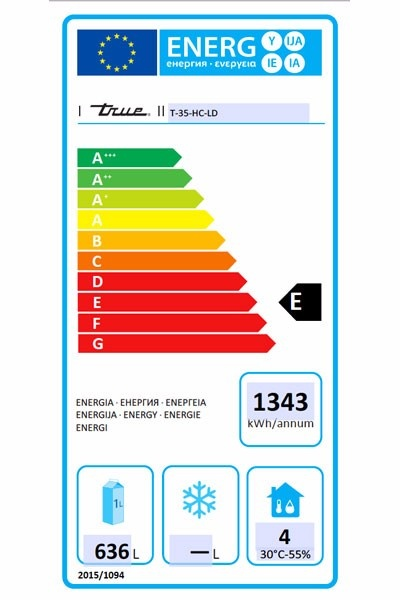 T-35-HC-LD 991 Ltr Hydrocarbon Upright Fridge Energy Rating