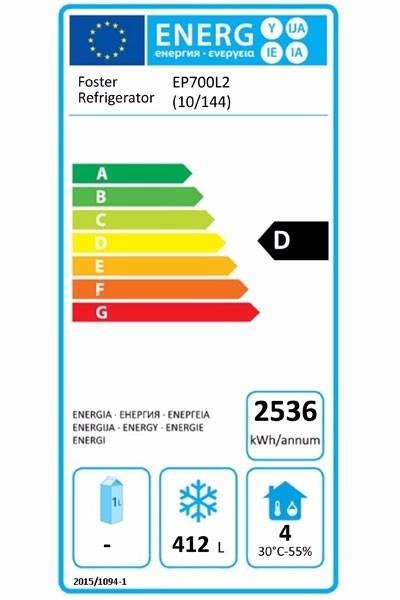 EcoPro G2 EP700L2 (10-144) 600 Ltr Half Door Upright Freezer Energy Rating