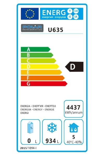 U635 1300 Ltr Upright Freezer Energy Rating