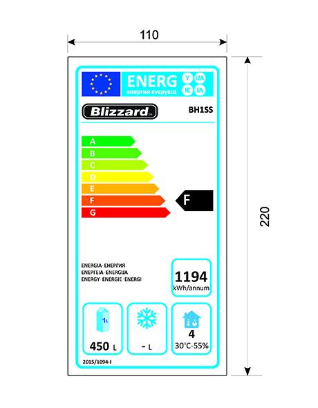 BH1SS 550 Ltr Upright Fridge Energy Rating