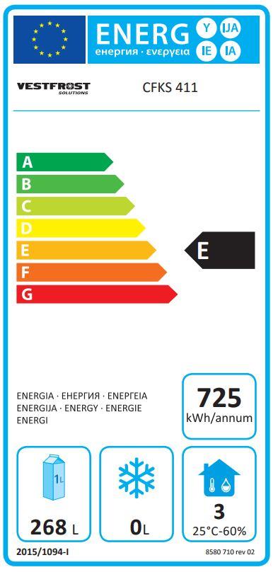 CFKS411-WH 290 Ltr Single Door Upright Fridge Energy Rating