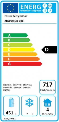 Xtra XR600H (33/101) 600 Ltr Upright Fridge Energy Rating