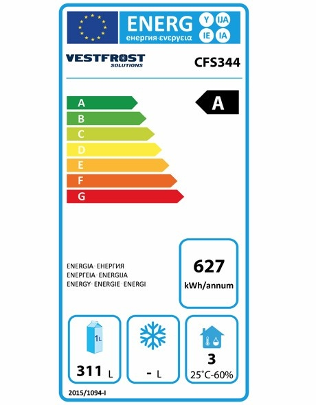 CFS344-WH 344 Ltr Upright Freezer Energy Rating