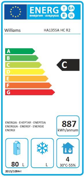 Amber HA135SA 133 Ltr Single Door Undercounter Fridge - DP490 Energy Rating