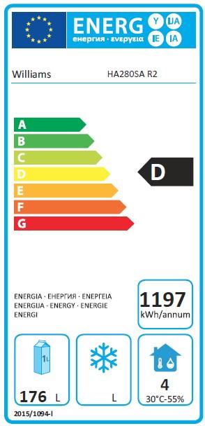 Amber HA280SA 280 Ltr Double Door Undercounter Fridge - DP494 Energy Rating