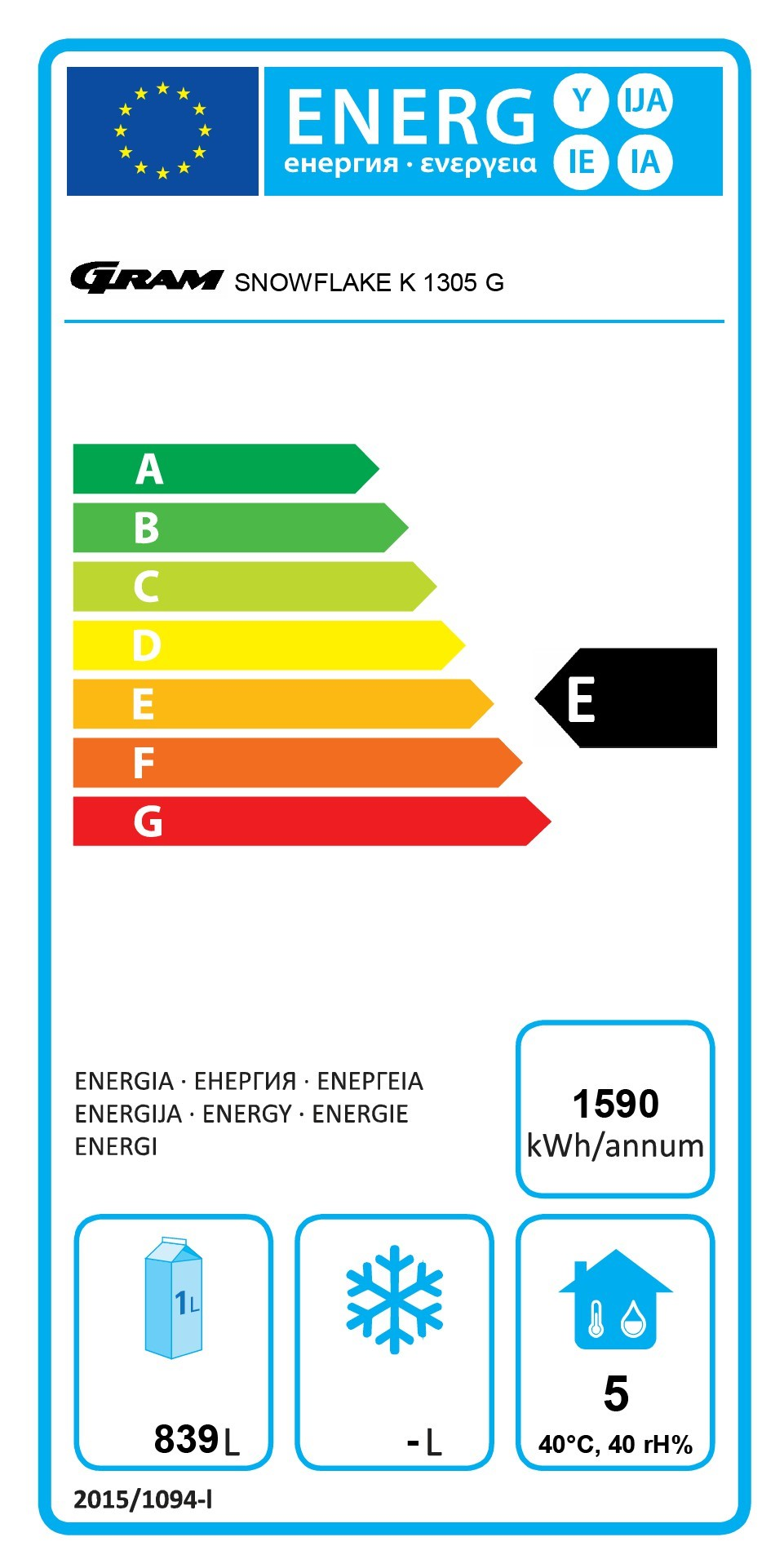 Snowflake K 1305 1230 Ltr Upright Fridge Energy Rating
