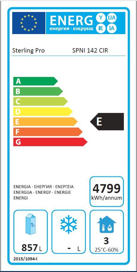 SPNI-142 1400 Ltr Double Door Gastronorm Freezer Energy Rating