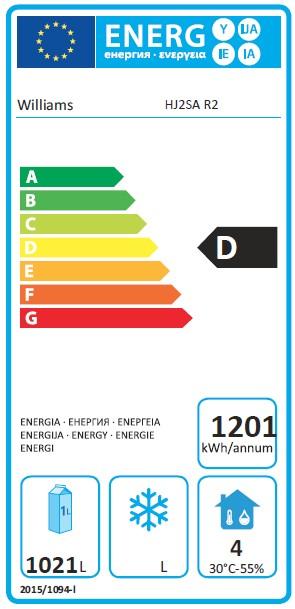 Jade HJ2-SA 1295 Ltr Double Door Upright Gastro Fridge - T863 Energy Rating
