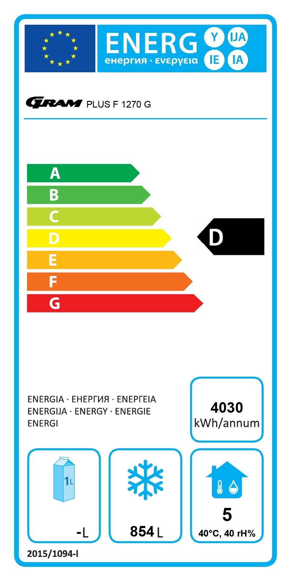 PLUS F 1270 RSH C 8N 1270 Ltr Upright Freezer Energy Rating
