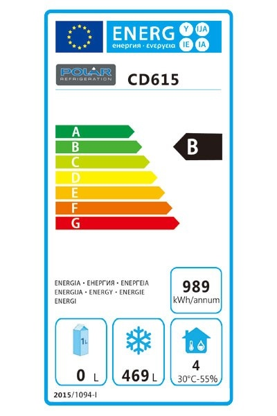 CD615 600 Ltr Upright Freezer Energy Rating