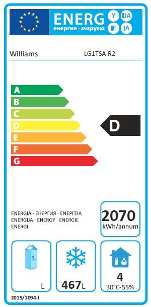 Garnet LG1TSA 620 Ltr Single Door Upright Freezer - G391 Energy Rating