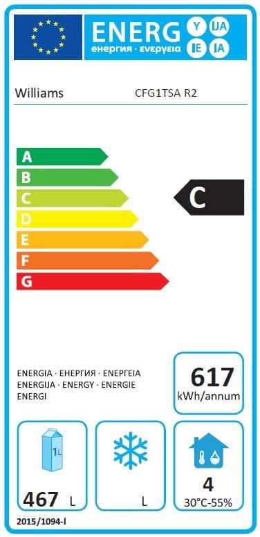 Garnet MG1T-SA 620 Ltr Single Door Upright Gastro Meat Fridge Energy Rating