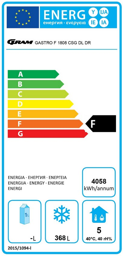 GASTRO F 1808 CSH A DL DR C2 U 2/1 GN 586 Ltr Freezer Counter Energy Rating