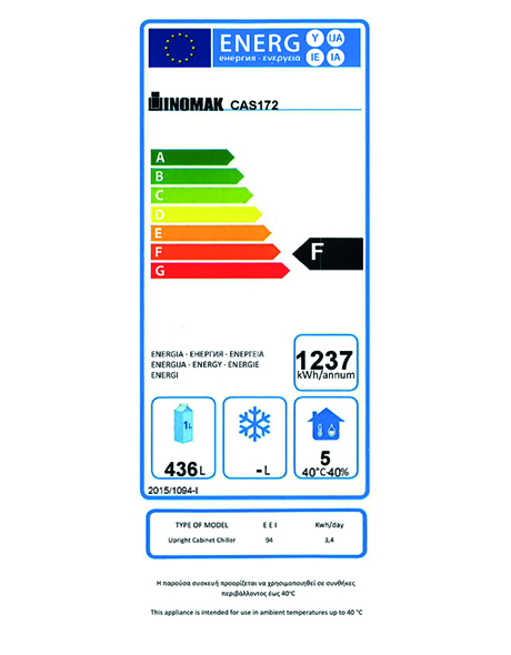 CAS172 654 Ltr Single Door 2/1 Gastro Fridge Energy Rating