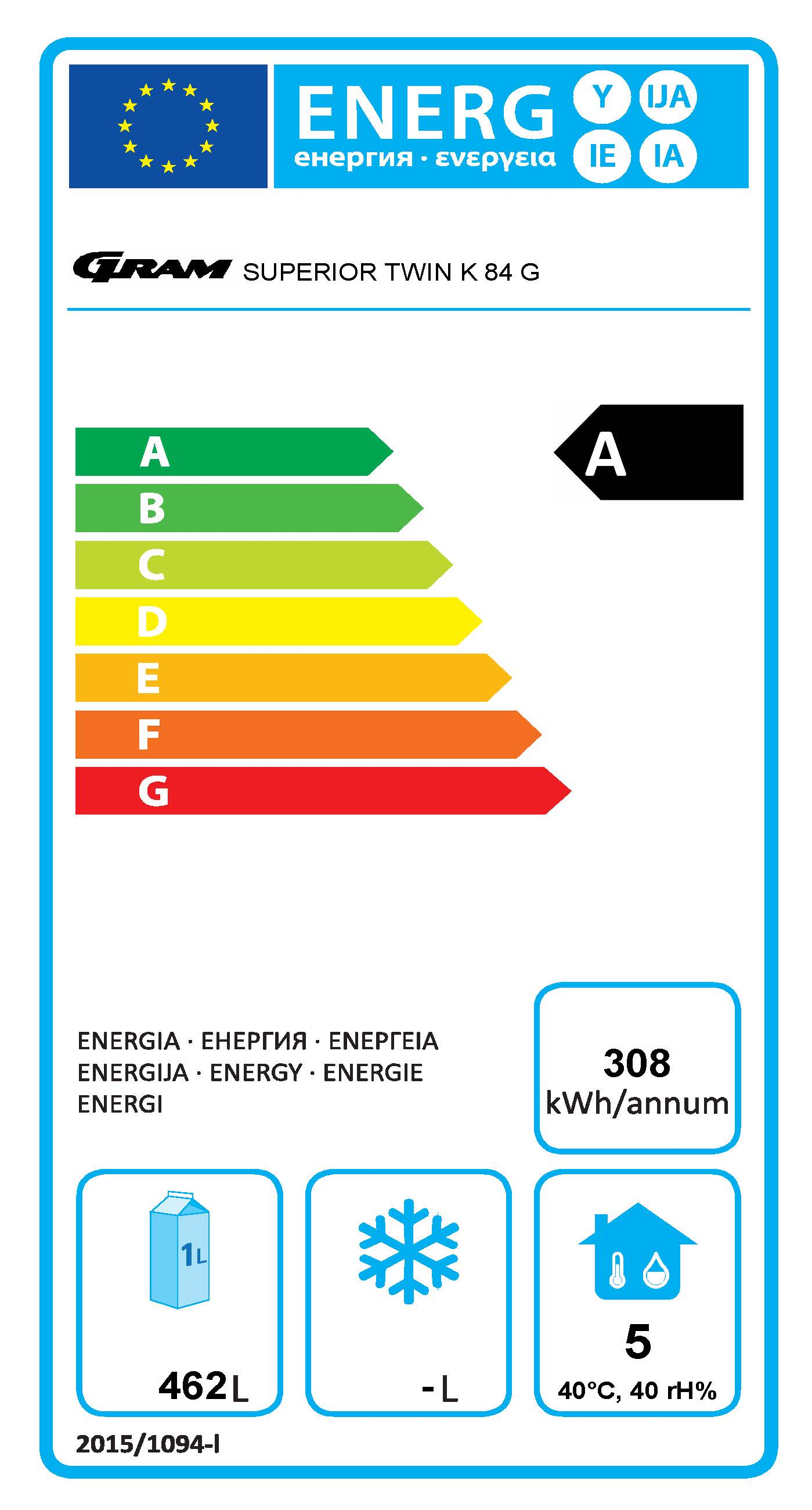 SUPERIOR TWIN K 84 CCG C1 4S 2/1 GN Upright Refrigerator  Energy Rating