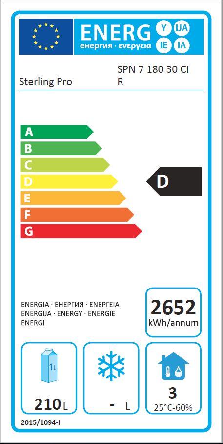 SPN-7-180-30 425 Ltr 3 Door Freezer Counter Energy Rating