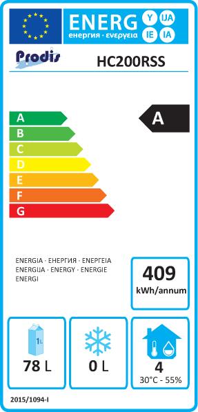 HC201RSS 200 Ltr Stainless Steel Undercounter Fridge Energy Rating