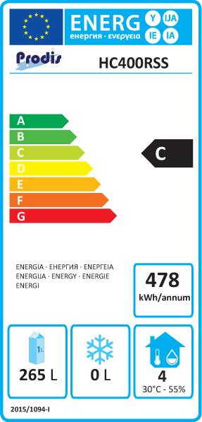 HC401RSS 400 Ltr Stainless Steel Single Door Upright Fridge Energy Rating