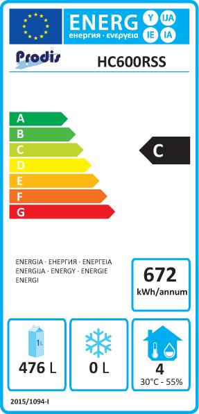HC601RSS 620 Ltr Stainless Steel Single Door Upright Fridge Energy Rating