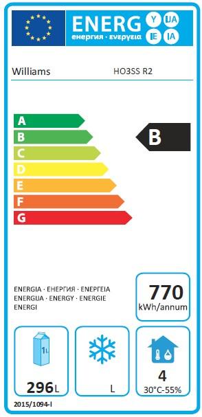 Opal HO3US3 545 Ltr 3 Door Fridge Counter - G394 Energy Rating