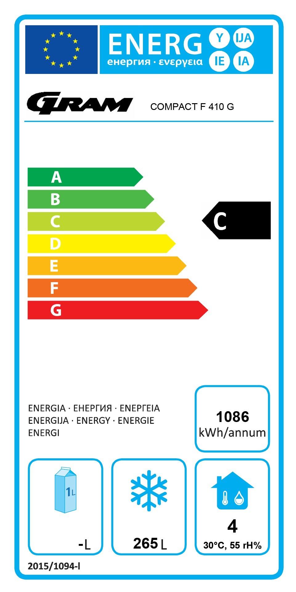 COMPACT F 410 LG C 6W 346 Ltr Upright Freezer Energy Rating