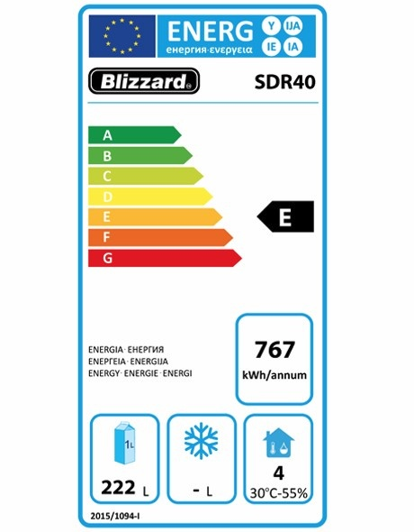 Economy Range SDR40 372 Ltr Upright Fridge Energy Rating