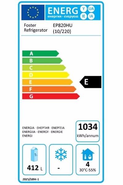 EcoPro G2 EP820HU (10-220) 600 Ltr Undermounted Upright Fridge Energy Rating