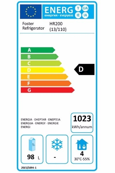 HR200 (13-110) 200 Ltr Undercounter Fridge Energy Rating