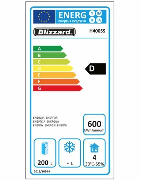 H400SS 380 Ltr Upright Fridge Energy Rating