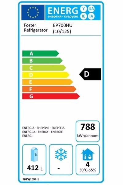 EcoPro G2 EP700HU (10-125) 600 Ltr Undermounted Upright Fridge Energy Rating