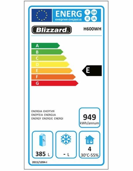 H600WH 590 Ltr Upright Fridge Energy Rating