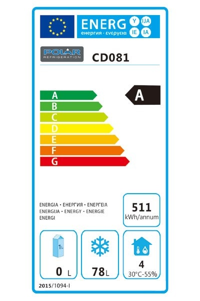 CD081 140 Litre Undercounter Freezer Energy Rating