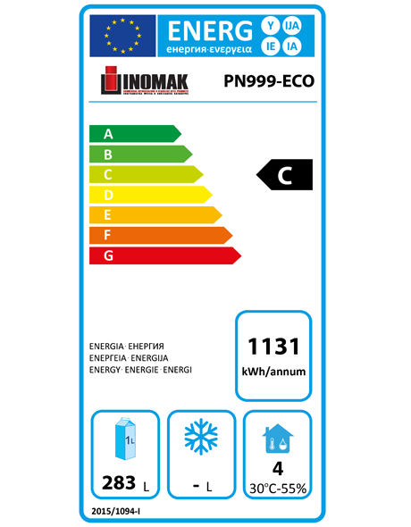 PN999-ECO 400 Ltr Refrigerated Counter Energy Rating