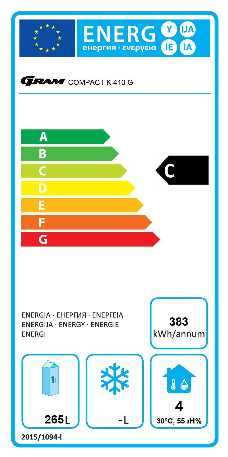COMPACT K 410 LG C 6W 346 Ltr Upright Fridge Energy Rating