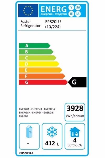 EcoPro G2 EP820LU (10-224) 600 Ltr Undermounted Upright Freezer Energy Rating
