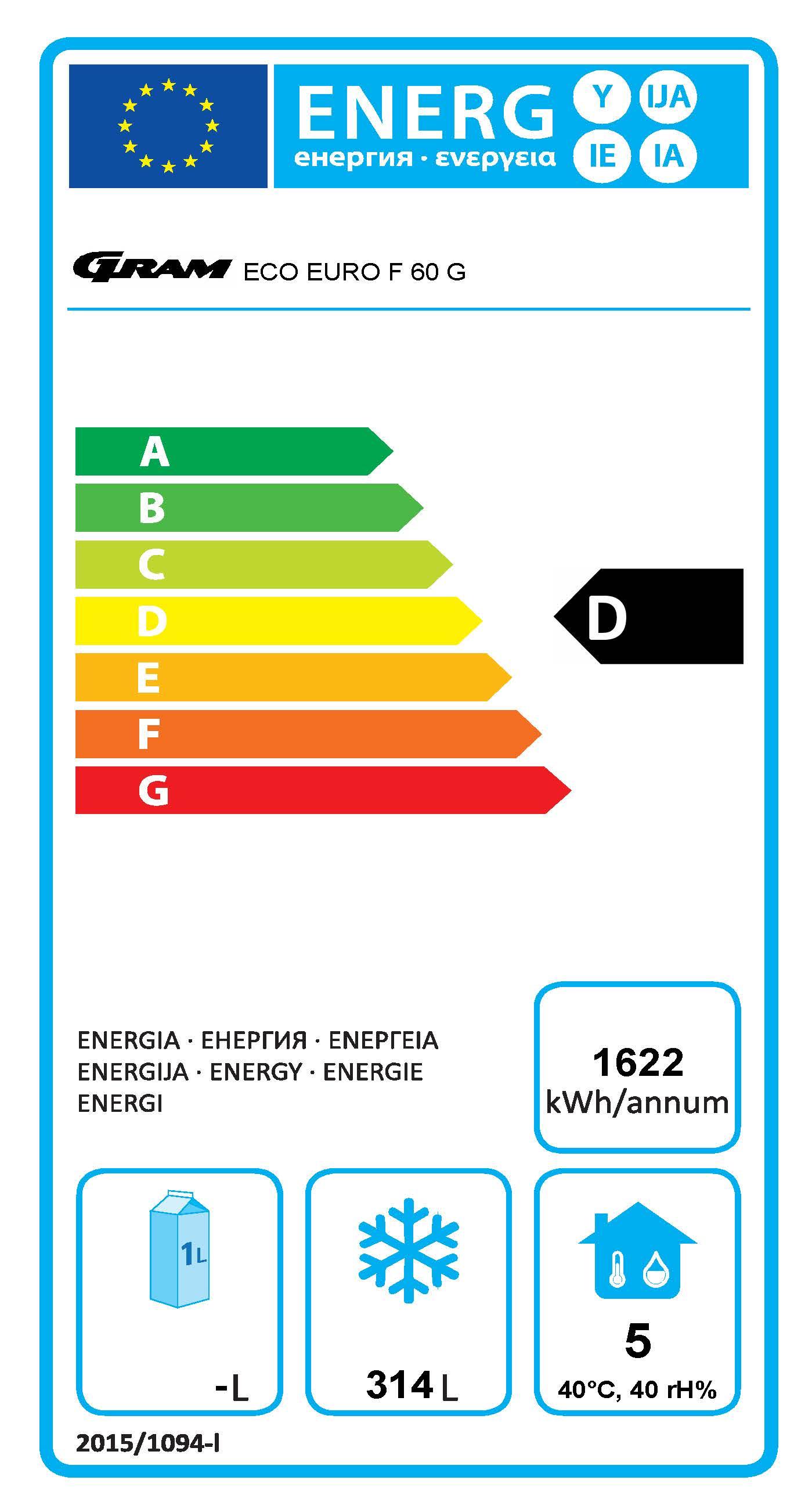 ECO EURO F 60 BAG C1 4N 465 Ltr Upright Freezer Energy Rating