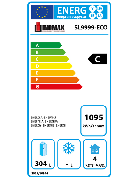 SL9999-ECO 450 Ltr 4 Door Refrigerated Counter Energy Rating