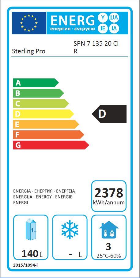SPN-7-135-20 290 Ltr 2 Door Freezer Counter Energy Rating