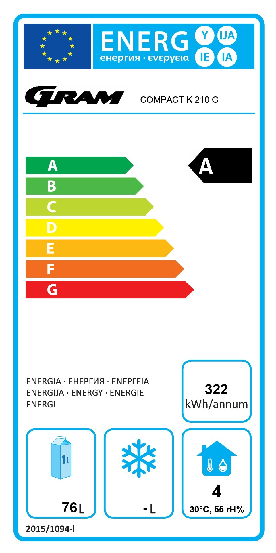 COMPACT KG 210 RG 3W 125 Ltr Undercounter Glass Door Fridge Energy Rating