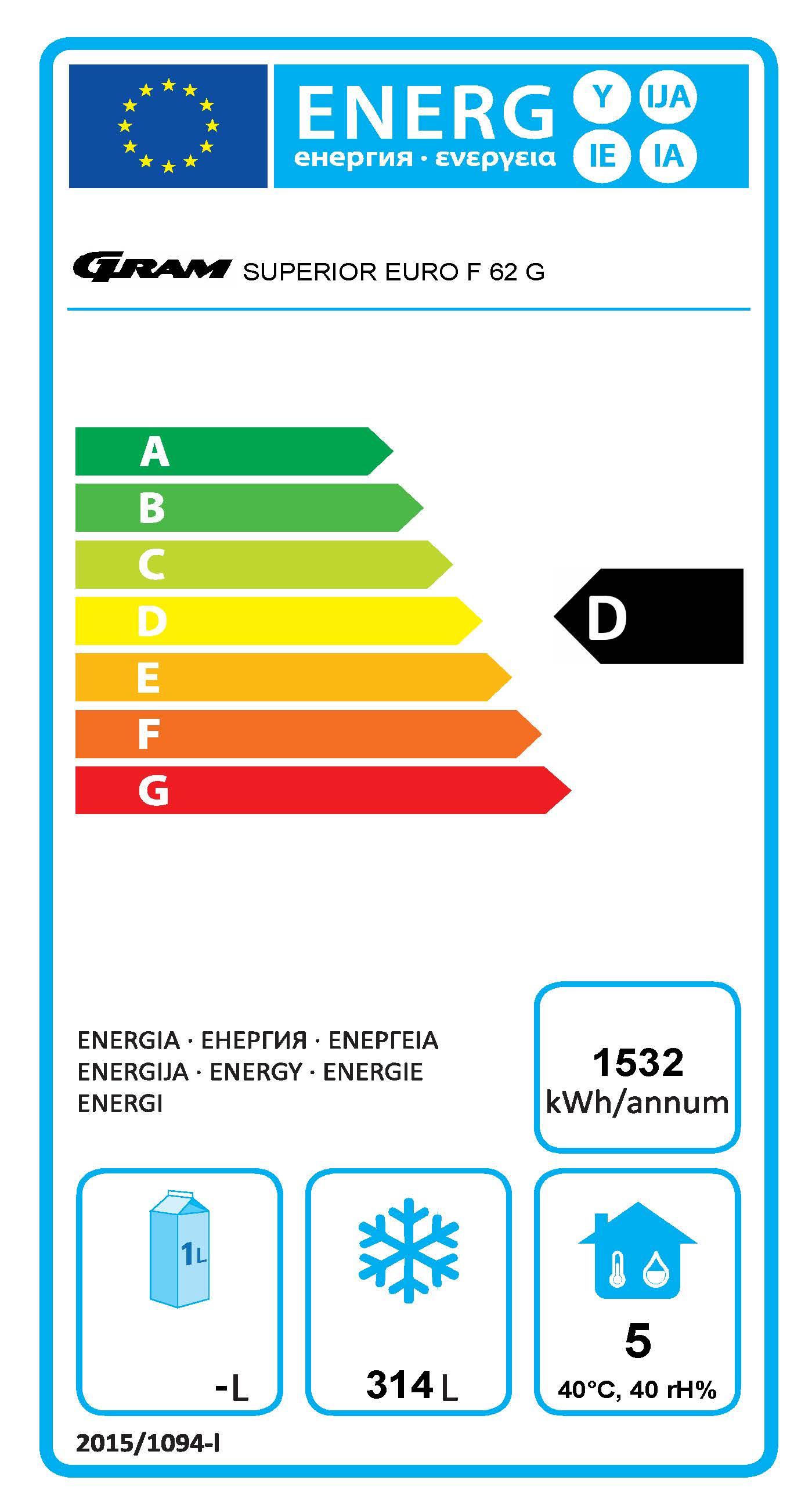 SUPERIOR EURO F 62 LAG C1 4S 465 Ltr Upright Freezer Energy Rating