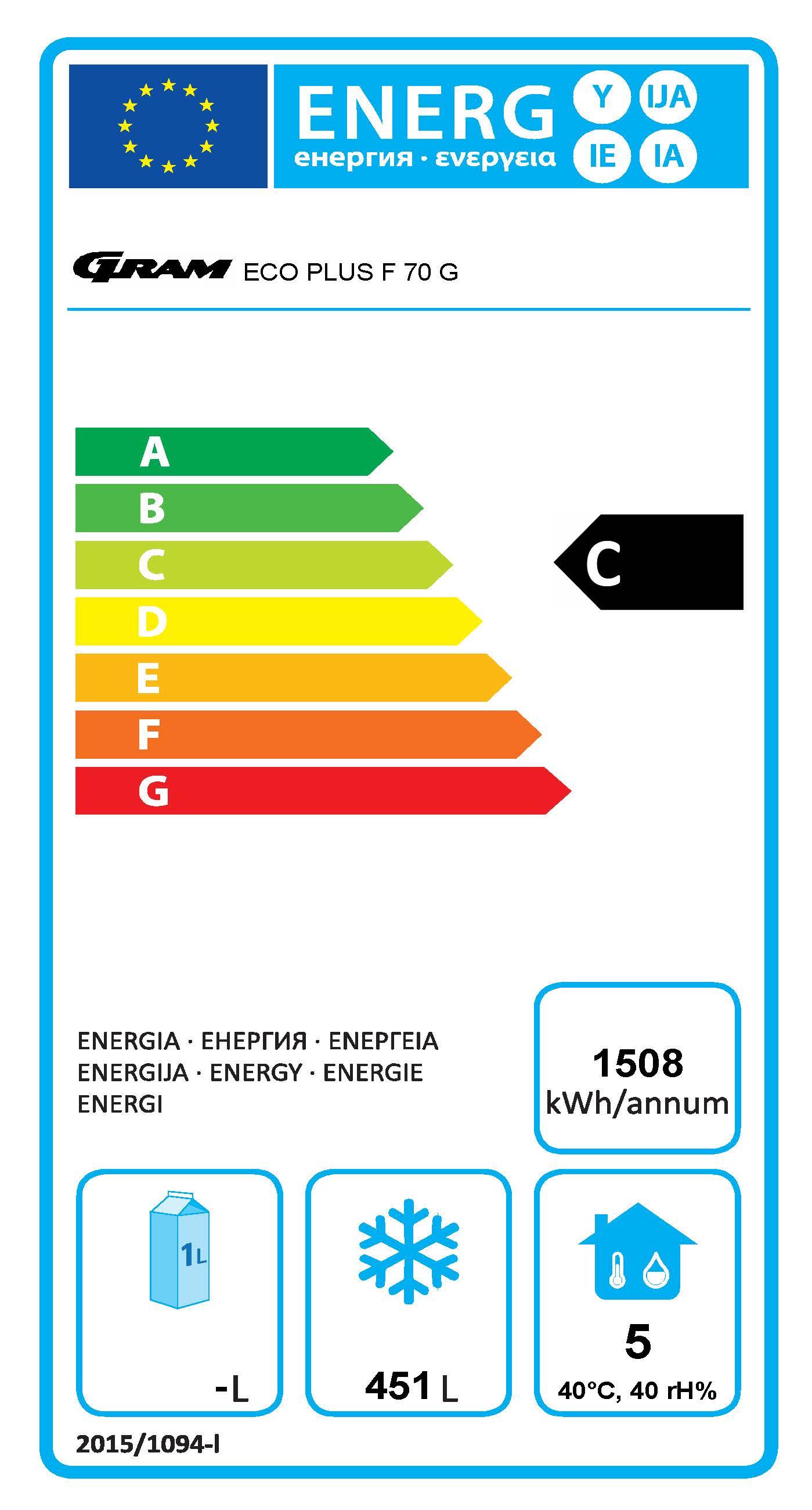 ECO PLUS F 70 BAG C1 4N 610 Ltr 2/1 GN Upright Freezer Energy Rating