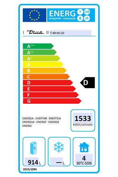 T-49-HC-LD 1388 Ltr Hydrocarbon Upright Fridge Energy Rating