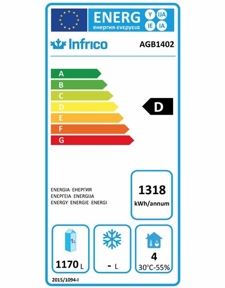 AGB1402 1300 Ltr Upright Fridge Energy Rating