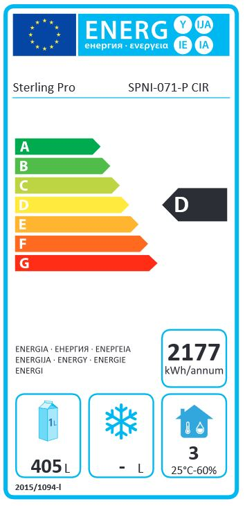 SPNI-071 700 Ltr Single Door Gastro Upright Freezer Energy Rating